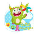 Cartoon Beast Mascot. Green Creature With Color Pinwheel. Funny Fantastic Spirit. Royalty Free Stock Photo