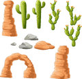 Cartoon beautiful cactus on desert background Royalty Free Stock Photo