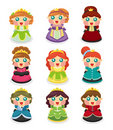 Cartoon beautiful princess icons set Royalty Free Stock Photo