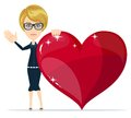 Cartoon beautiful young blond woman with a huge confesses his love and gives his heart joyfully welcomes you vector illustration Stock Photos
