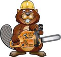 Cartoon beaver wearing safety helmet and holding chainsaw Royalty Free Stock Photo