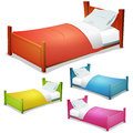 Cartoon bed set illustration of a of wood children beds for boys and girls with pillows and cover Royalty Free Stock Images
