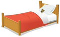 Cartoon Bed With Teddy Bear Royalty Free Stock Photo