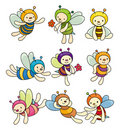 Cartoon bee boy icon set Royalty Free Stock Photo