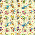 Cartoon bee boy seamless pattern Stock Photo