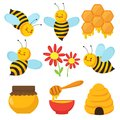 Cartoon bee. Cute bees, flowers and honey. Isolated vector characters set