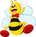 Cartoon bee giving thumb up illustration of Royalty Free Stock Photos