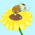 Cartoon bee with sunflower illustration of Stock Photo
