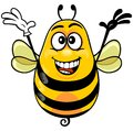 Cartoon bee yellow wearing white glove with funny expression Stock Images