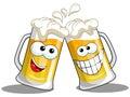 Cartoon beer mugs cheers Royalty Free Stock Photo