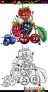 Cartoon berry fruits for coloring book or page illustration of funny comic food characters group children education Stock Images