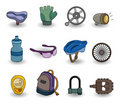 Cartoon bicycle equipment icon set Royalty Free Stock Photography