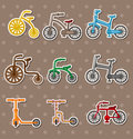 Cartoon Bicycle stickers Stock Photography