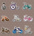 Cartoon Bicycle stickers Stock Images