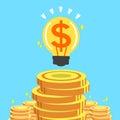 Cartoon big money idea with money coins Royalty Free Stock Photo