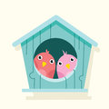 Cartoon bird in birdhouse