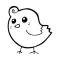 Cartoon bird black and white line in retro style vector available Royalty Free Stock Photography