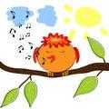 Cartoon bird on branch singing a tune Royalty Free Stock Photo