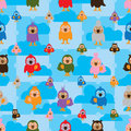 Cartoon bird color symmetry cloud seamless pattern Royalty Free Stock Photo