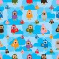 Cartoon bird color symmetry cloud seamless pattern
