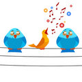 Cartoon bird sitting on wire with sing one Royalty Free Stock Images