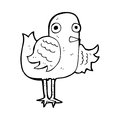 Cartoon bird waving wing black and white line in retro style vector available Stock Photography