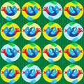 Cartoon birds pattern colorful on green background Stock Photo