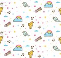 Cartoon birds singing seamless background