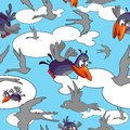Cartoon birds in the sky seamless pattern Royalty Free Stock Image