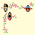 Cartoon birds in spring time sitting on the blossom branch Royalty Free Stock Photos