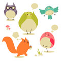 Cartoon birds and squirrel isolated on white background Stock Photos