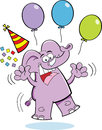 Cartoon birthday elephant jumping illustration of an with a party hat and balloons Stock Images