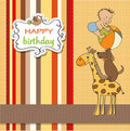 Cartoon birthday greeting card Royalty Free Stock Image