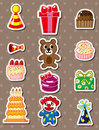 Cartoon birthday stickers Stock Photography