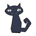 Cartoon black cat hand drawn illustration in retro style vector available Royalty Free Stock Photos