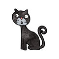 Cartoon black cat retro with texture isolated on white Stock Photography