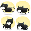 Cartoon Black Cat Set Stock Images