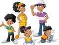 Cartoon black family colorful cute happy Royalty Free Stock Image