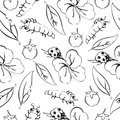 Cartoon black and white hand drawing beetle ladybug and caterpillars, leaves and flowers of clover seamless pattern