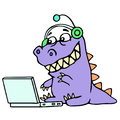 Cartoon blogger croc played on laptop. Vector illustration.