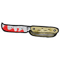 Cartoon bloody folding knife retro with texture isolated on white Stock Photography