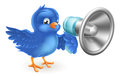 Cartoon blue bird with mega phone a cute bluebird a Stock Photography