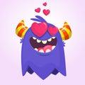 Cartoon blue cool monster in love. St Valentines vector illustration of loving monster waving.