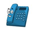 Cartoon blue landline telephone instrument with a keypad and digital display and a happy face isolated on white Stock Images