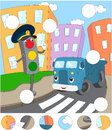Cartoon blue lorry and traffic lights on a pedestrian crossing.