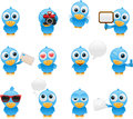 Cartoon bluebird set vector illustration of separate layers for easy editing Royalty Free Stock Images