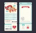 Cartoon boarding pass ticket wedding invitation template vector Royalty Free Stock Image