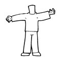 Cartoon body with open arms mix and match cartoons or add own photos black white line in retro style vector available Royalty Free Stock Photo