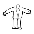 Cartoon body in suit mix and match cartoons or add own photos black white line retro style vector available Royalty Free Stock Photo