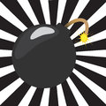 Cartoon bomb with sunburst illustration of a a background Royalty Free Stock Image